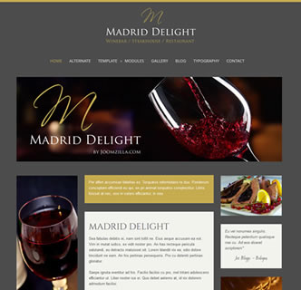 joomla restaurant winebar steakhouse template wine champagne elegant