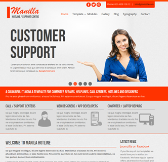 Joomla computer repairs it support center hotline call centre template