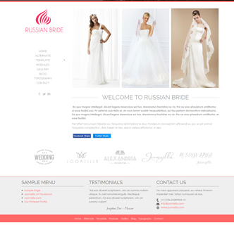Joomla wedding bridal template, joomla bridal shop boutique